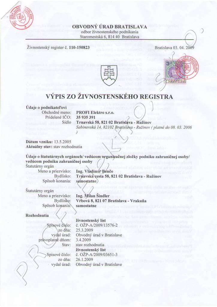 Živnost. register 1